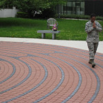 Senior Master Sergeant Demetrica Jefferis, a breast cancer survivor, experiences her first labyrinth walk at Walter Reed National Military Medical Center.